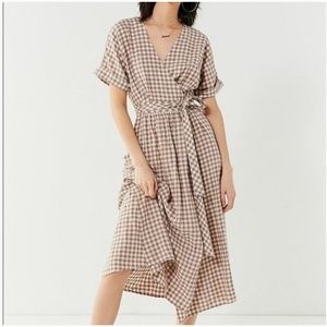 Urban Outfitters Light Brown Gingham Wrap Dress